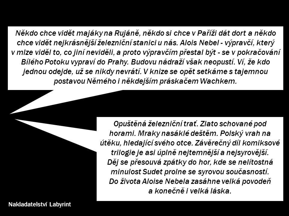inspirace příběhu •místa, události, postavy, reálie – prolnutí reality a fikce •místa – Bílý Potok - nádraží (Horní Lipová) a psychiatrická léčebna (Bílá Voda), Praha - hlavní nádraží a Černý Most, Cukmantl/Zlaté Hory, Krakov, zajatecký tábor (Rejvíz), Freiwaldau/Frývaldov/Jeseník, lázně Lipová a Gräfenberg/Jeseník, Vidnava, Zábřeh, Praděd, Keprník, Ramzová, Rejvíz… •historické události –osídlení Jesenicka Němci, čarodějnické procesy v 17.