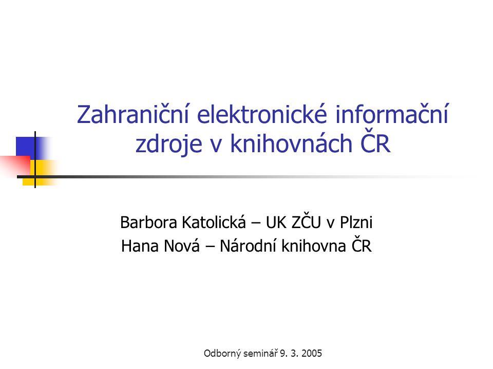Odborný seminář 9.3. 2005 Multioborové OCLC FirstSerach  Řešitel – Národní knihovna ČR dr.