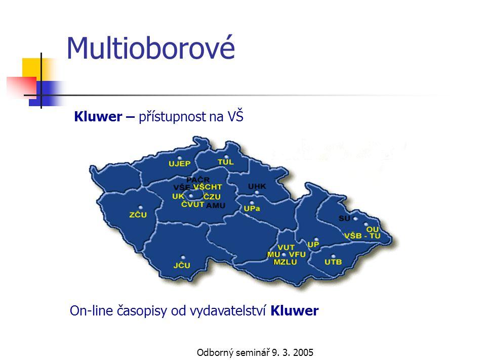 Odborný seminář 9. 3. 2005 Multioborové Kluwer – přístupnost na VŠ On-line časopisy od vydavatelství Kluwer
