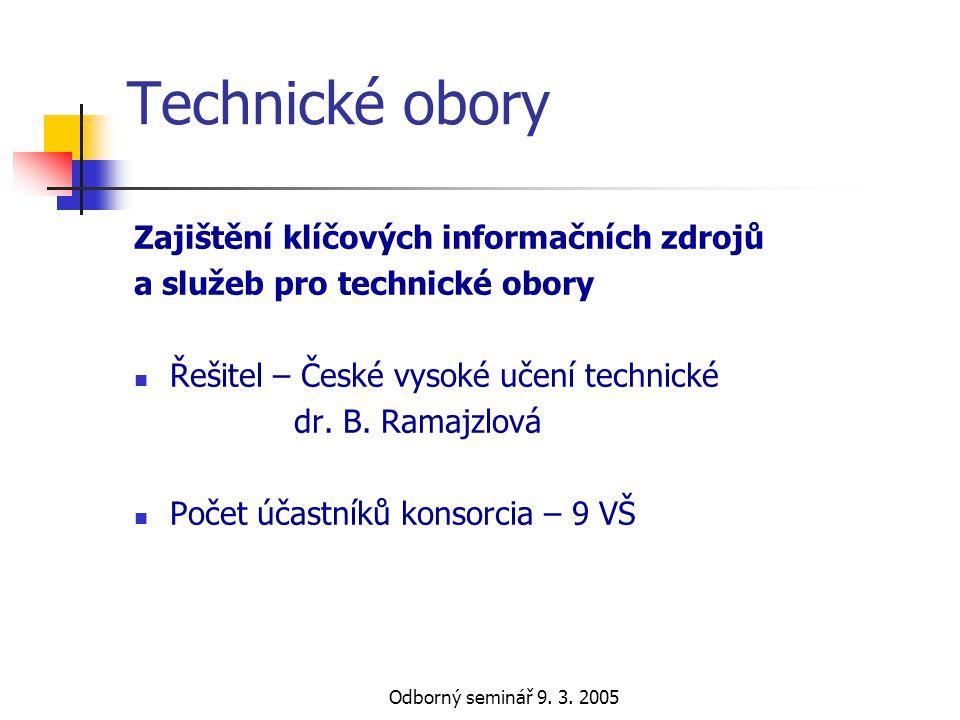Odborný seminář 9. 3. 2005 Technické obory Zajištění klíčových informačních zdrojů a služeb pro technické obory  Řešitel – České vysoké učení technic