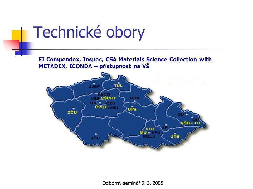 Odborný seminář 9. 3. 2005 Technické obory EI Compendex, Inspec, CSA Materials Science Collection with METADEX, ICONDA – přístupnost na VŠ