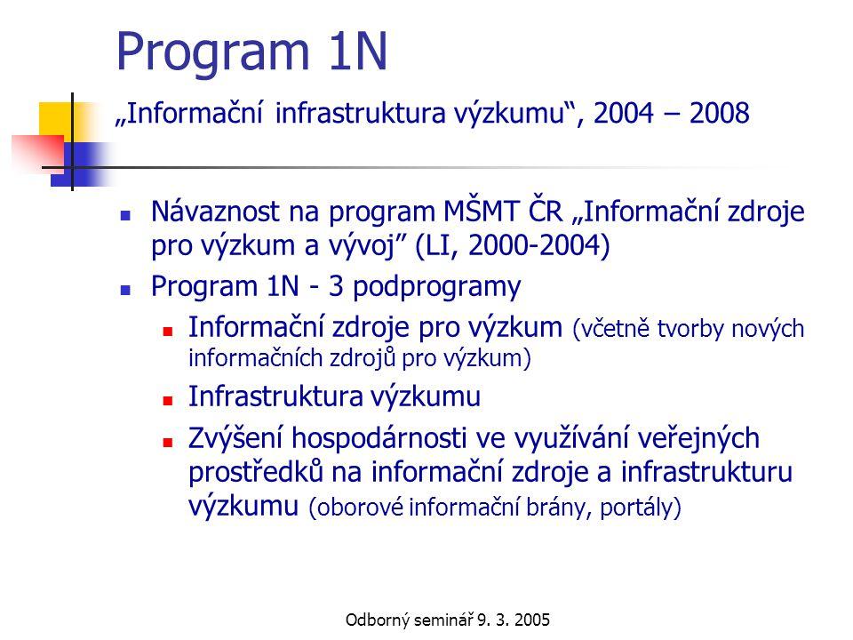 """Odborný seminář 9. 3. 2005 Program 1N """"Informační infrastruktura výzkumu"""", 2004 – 2008  Návaznost na program MŠMT ČR """"Informační zdroje pro výzkum a"""