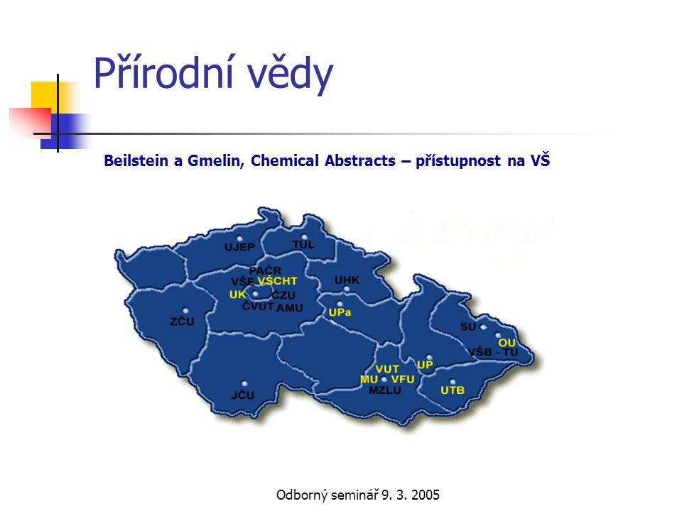 Odborný seminář 9. 3. 2005 Přírodní vědy Beilstein a Gmelin, Chemical Abstracts – přístupnost na VŠ
