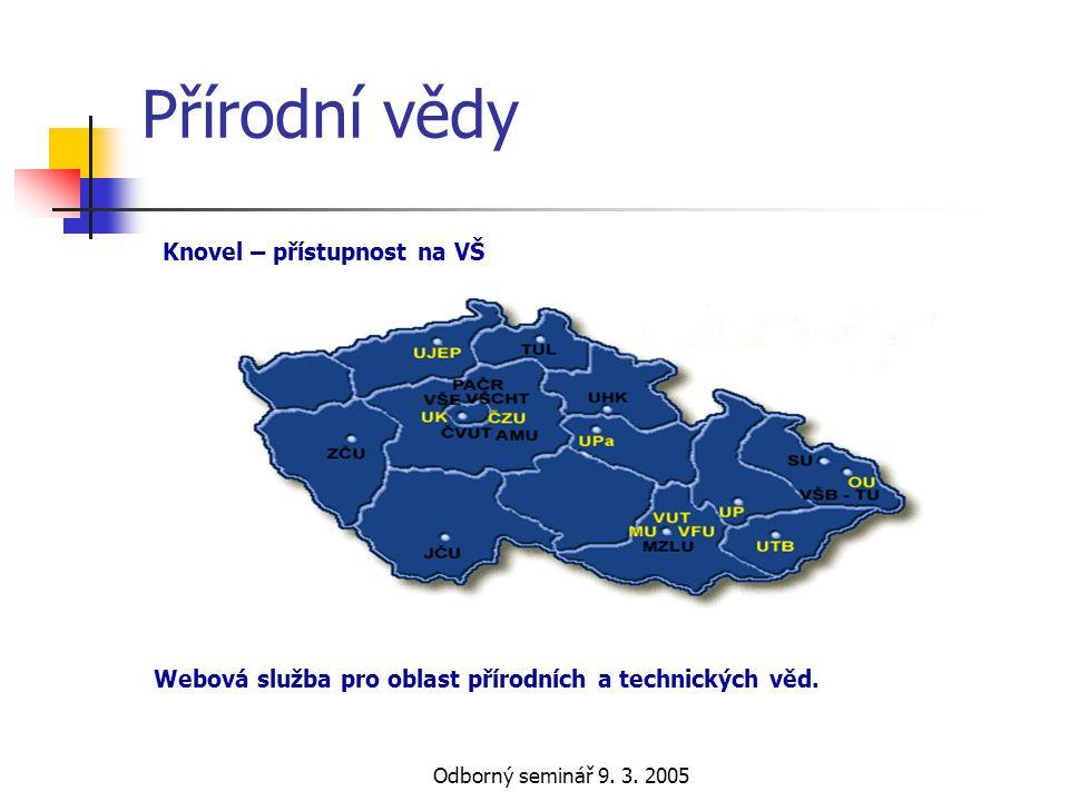 Odborný seminář 9. 3. 2005 Přírodní vědy Webová služba pro oblast přírodních a technických věd. Knovel – přístupnost na VŠ