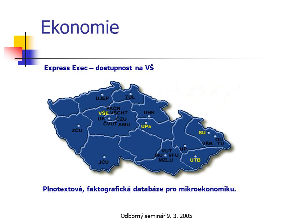 Odborný seminář 9. 3. 2005 Ekonomie Plnotextová, faktografická databáze pro mikroekonomiku. Express Exec – dostupnost na VŠ
