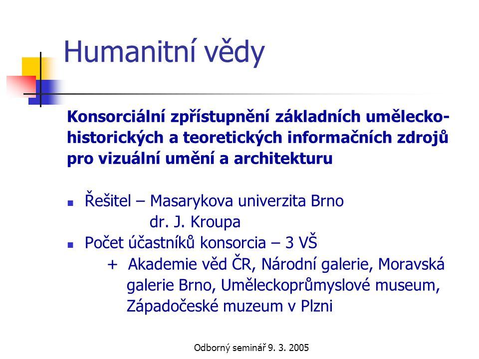 Odborný seminář 9. 3. 2005 Humanitní vědy Konsorciální zpřístupnění základních umělecko- historických a teoretických informačních zdrojů pro vizuální