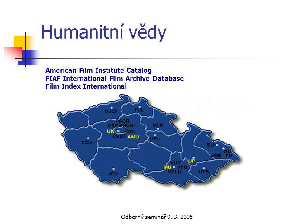 Odborný seminář 9. 3. 2005 Humanitní vědy American Film Institute Catalog FIAF International Film Archive Database Film Index International