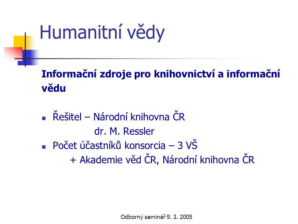 Odborný seminář 9. 3. 2005 Humanitní vědy Informační zdroje pro knihovnictví a informační vědu  Řešitel – Národní knihovna ČR dr. M. Ressler  Počet