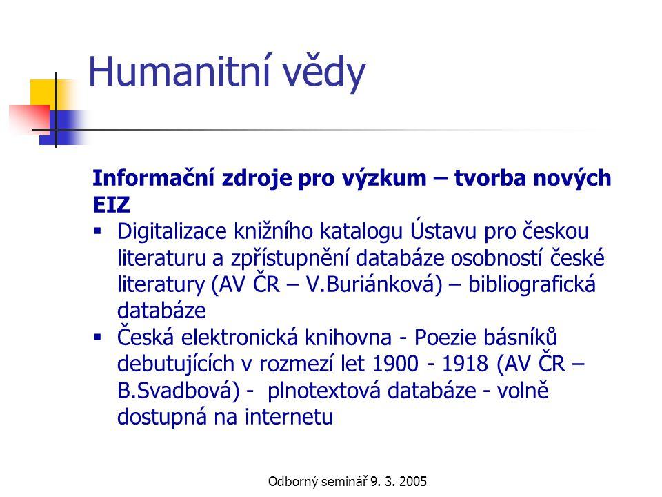 Odborný seminář 9. 3. 2005 Humanitní vědy Informační zdroje pro výzkum – tvorba nových EIZ  Digitalizace knižního katalogu Ústavu pro českou literatu