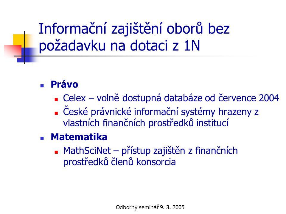 Odborný seminář 9. 3. 2005 Informační zajištění oborů bez požadavku na dotaci z 1N  Právo  Celex – volně dostupná databáze od července 2004  České