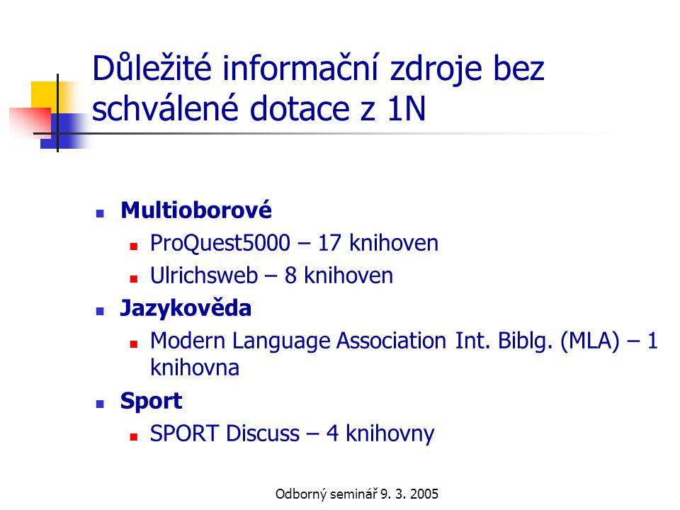 Odborný seminář 9. 3. 2005 Důležité informační zdroje bez schválené dotace z 1N  Multioborové  ProQuest5000 – 17 knihoven  Ulrichsweb – 8 knihoven