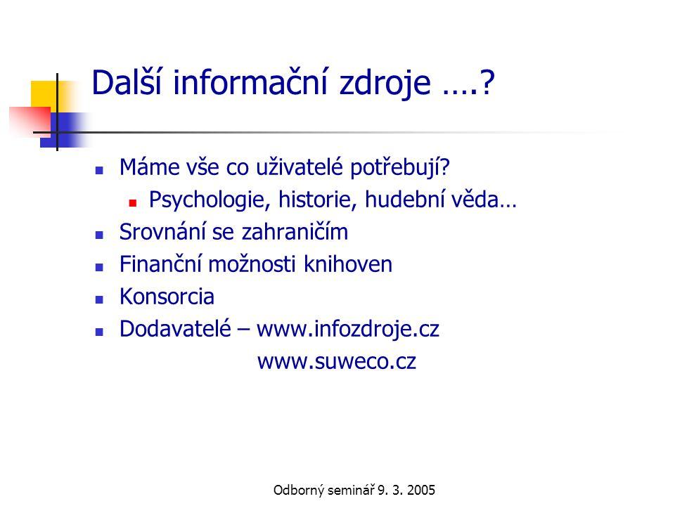 Odborný seminář 9. 3. 2005 Další informační zdroje ….?  Máme vše co uživatelé potřebují?  Psychologie, historie, hudební věda…  Srovnání se zahrani