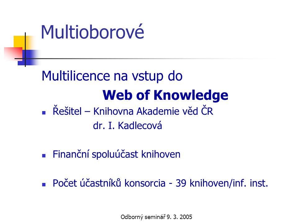 Odborný seminář 9. 3. 2005 Multioborové Multilicence na vstup do Web of Knowledge  Řešitel – Knihovna Akademie věd ČR dr. I. Kadlecová  Finanční spo