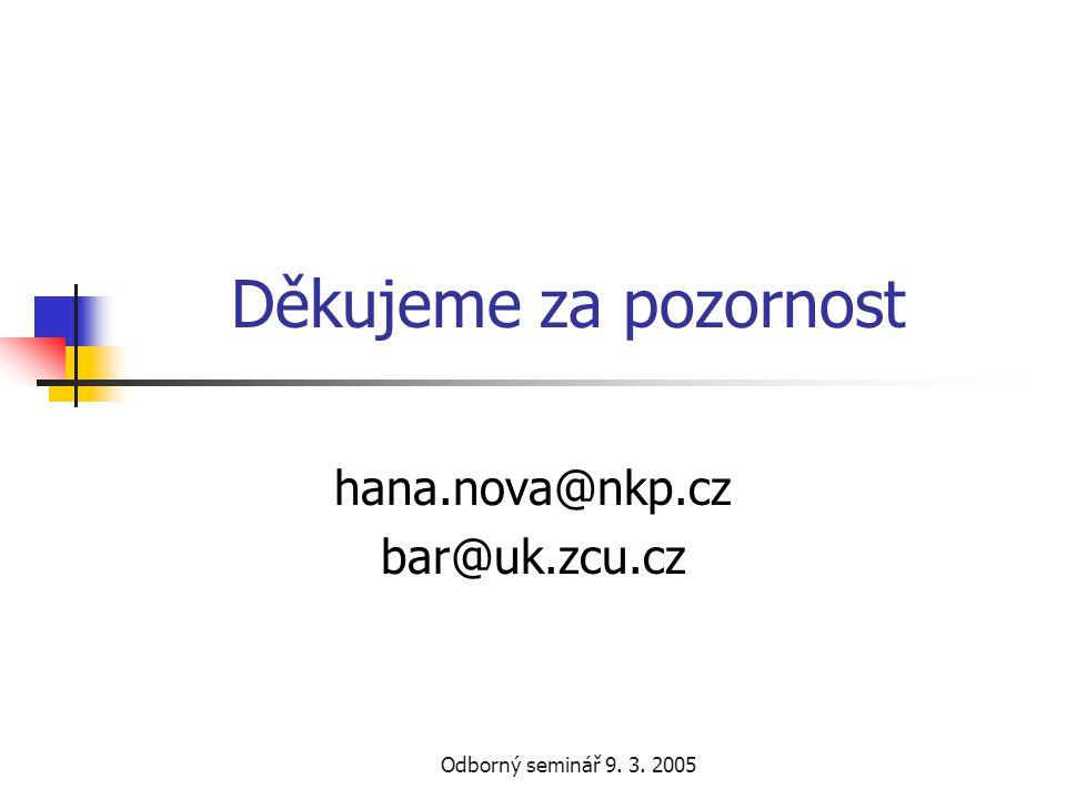 Odborný seminář 9. 3. 2005 Děkujeme za pozornost hana.nova@nkp.cz bar@uk.zcu.cz