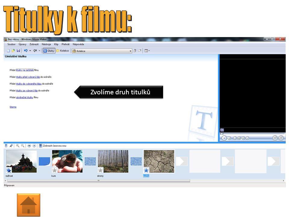 1. Zobrazíme přechody videa 2. Určený přechod přetáhneme za daný snímek U snímků můžeme nastavit: Setmít, Rozetmít