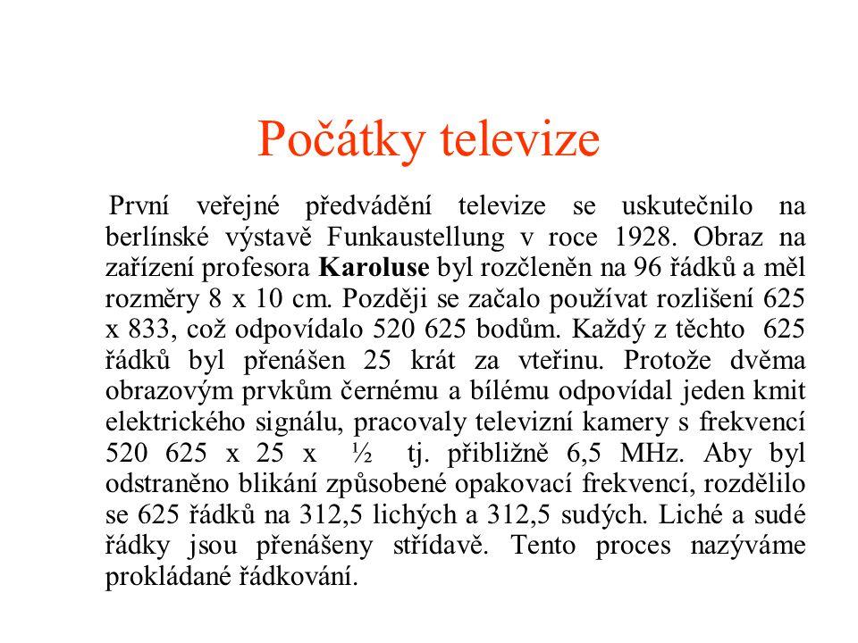 Počátky televize První veřejné předvádění televize se uskutečnilo na berlínské výstavě Funkaustellung v roce 1928. Obraz na zařízení profesora Karolus