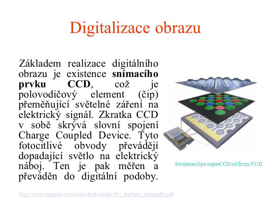 Digitalizace obrazu Základem realizace digitálního obrazu je existence snímacího prvku CCD, což je polovodičový element (čip) přeměňující světelné zář