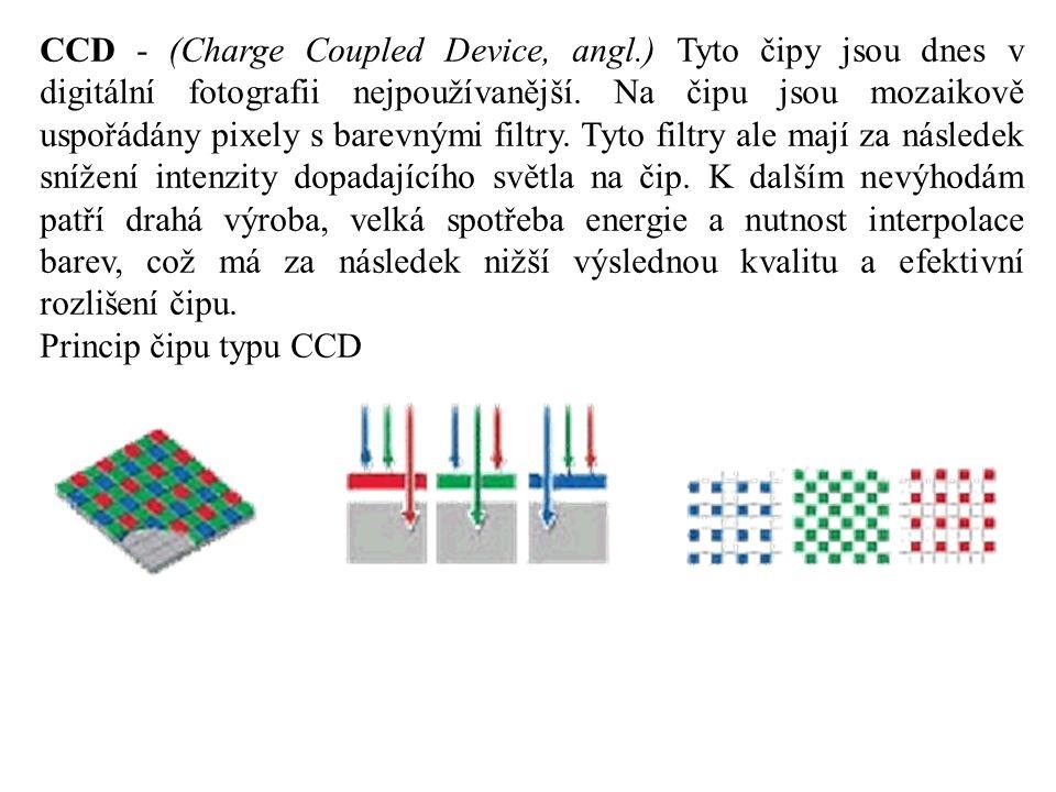 CCD - (Charge Coupled Device, angl.) Tyto čipy jsou dnes v digitální fotografii nejpoužívanější. Na čipu jsou mozaikově uspořádány pixely s barevnými