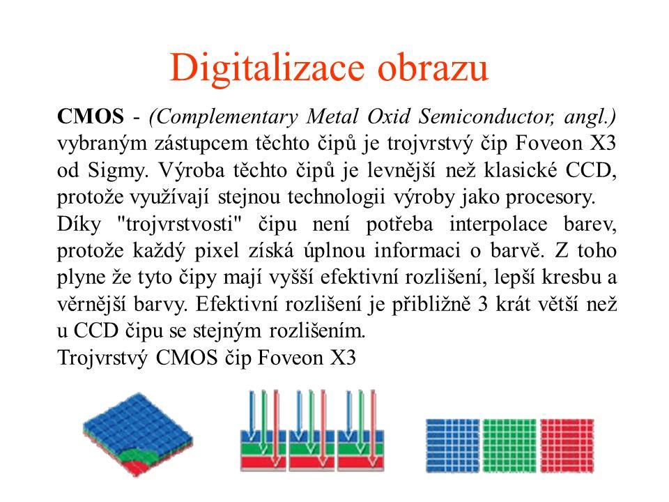 Digitalizace obrazu CMOS - (Complementary Metal Oxid Semiconductor, angl.) vybraným zástupcem těchto čipů je trojvrstvý čip Foveon X3 od Sigmy. Výroba