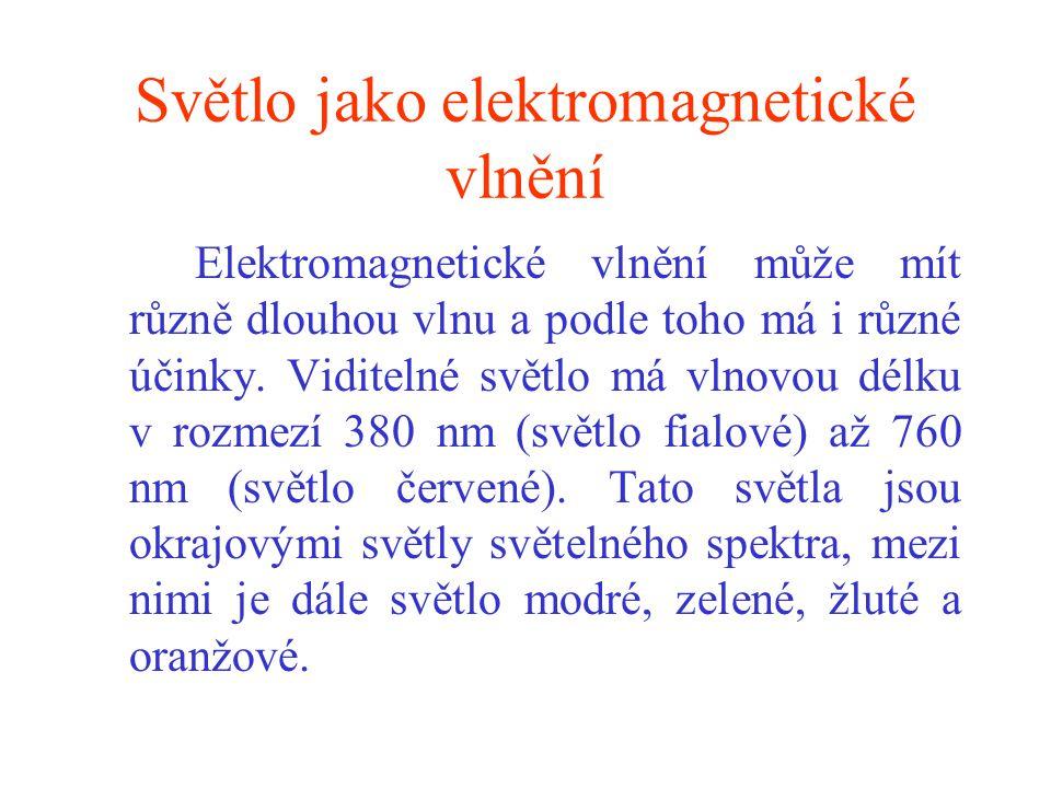 Světlo jako elektromagnetické vlnění Elektromagnetické vlnění může mít různě dlouhou vlnu a podle toho má i různé účinky. Viditelné světlo má vlnovou