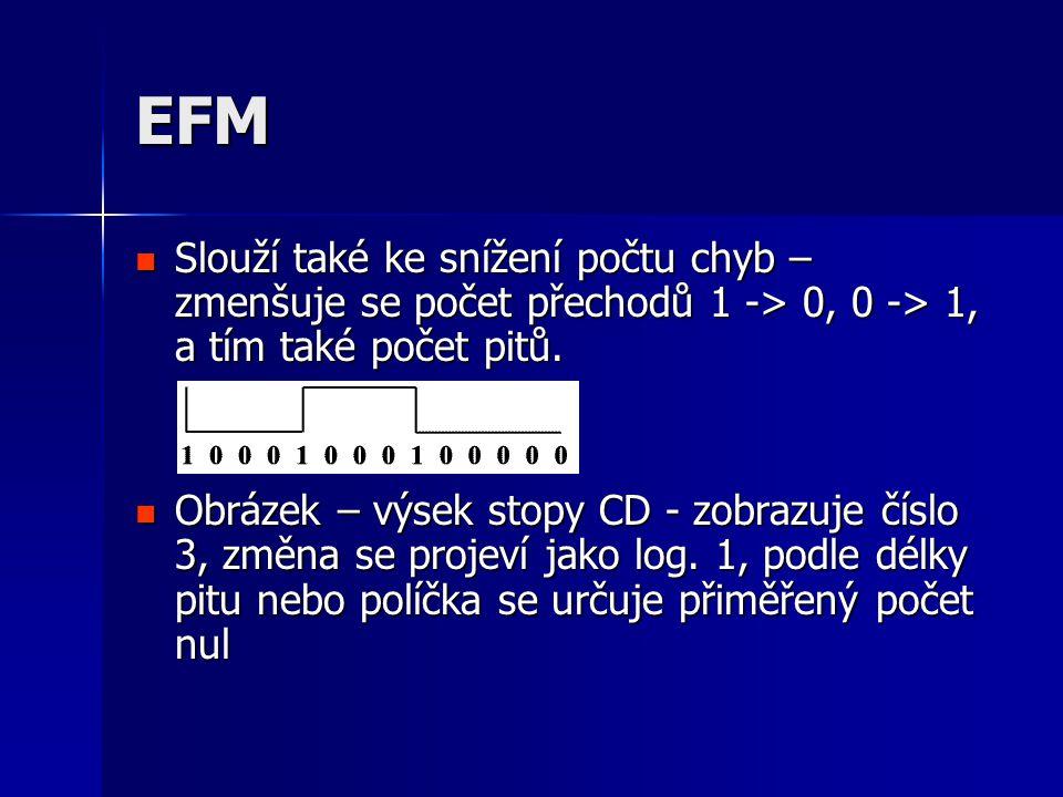 EFM  Slouží také ke snížení počtu chyb – zmenšuje se počet přechodů 1 -> 0, 0 -> 1, a tím také počet pitů.  Obrázek – výsek stopy CD - zobrazuje čís