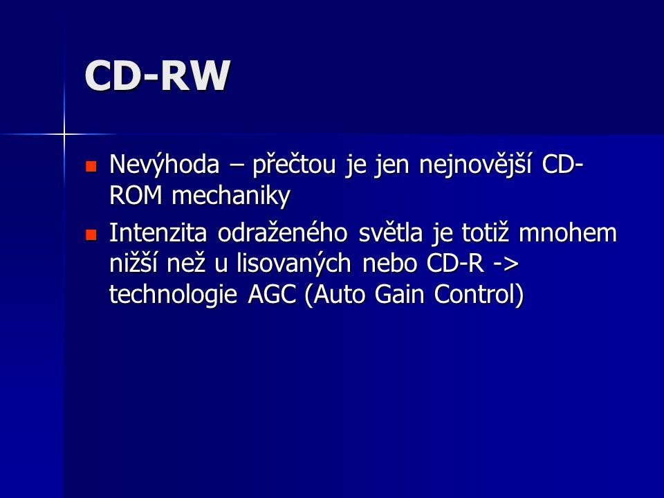 CD-RW  Nevýhoda – přečtou je jen nejnovější CD- ROM mechaniky  Intenzita odraženého světla je totiž mnohem nižší než u lisovaných nebo CD-R -> technologie AGC (Auto Gain Control)