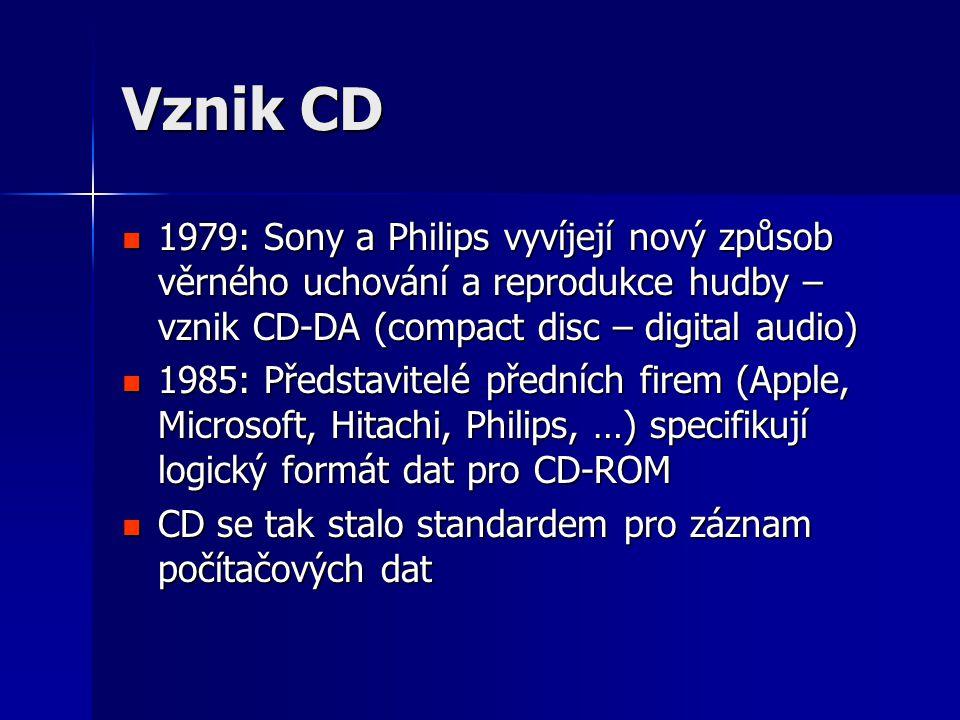 Vznik CD  1979: Sony a Philips vyvíjejí nový způsob věrného uchování a reprodukce hudby – vznik CD-DA (compact disc – digital audio)  1985: Představitelé předních firem (Apple, Microsoft, Hitachi, Philips, …) specifikují logický formát dat pro CD-ROM  CD se tak stalo standardem pro záznam počítačových dat