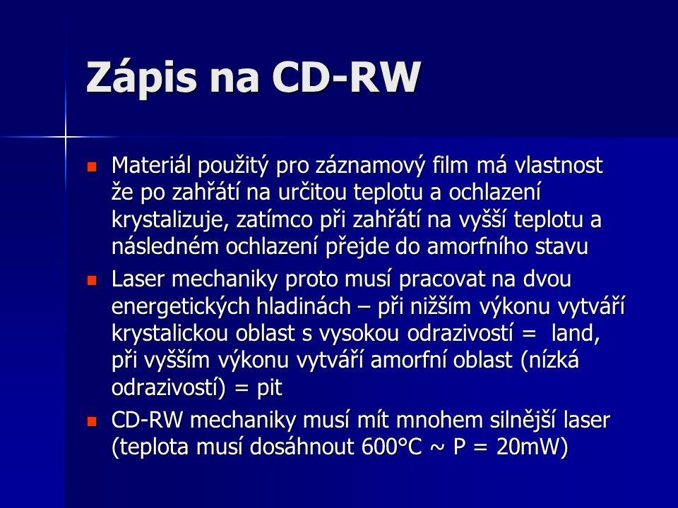 Zápis na CD-RW  Materiál použitý pro záznamový film má vlastnost že po zahřátí na určitou teplotu a ochlazení krystalizuje, zatímco při zahřátí na vyšší teplotu a následném ochlazení přejde do amorfního stavu  Laser mechaniky proto musí pracovat na dvou energetických hladinách – při nižším výkonu vytváří krystalickou oblast s vysokou odrazivostí = land, při vyšším výkonu vytváří amorfní oblast (nízká odrazivostí) = pit  CD-RW mechaniky musí mít mnohem silnější laser (teplota musí dosáhnout 600°C ~ P = 20mW)