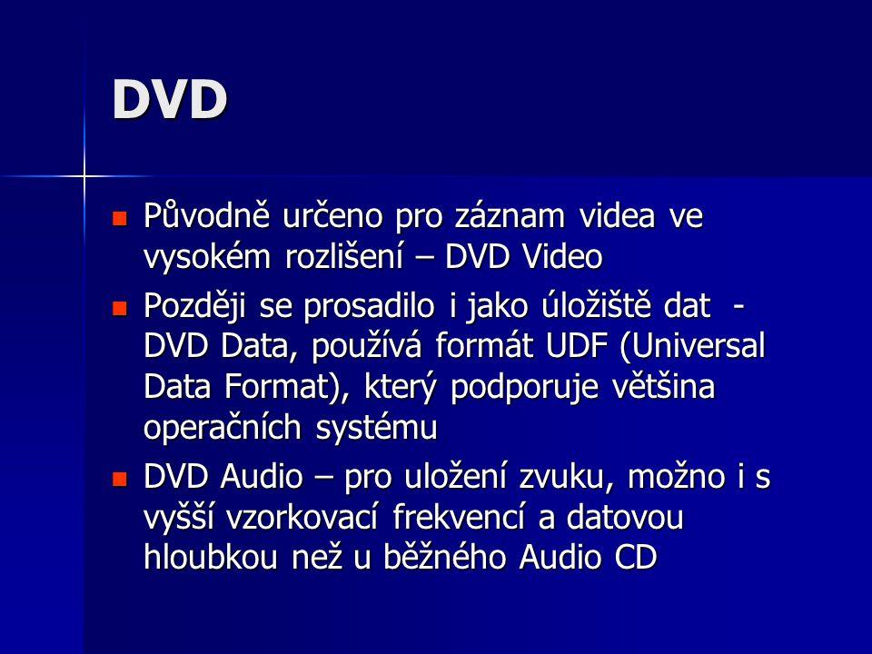 DVD  Původně určeno pro záznam videa ve vysokém rozlišení – DVD Video  Později se prosadilo i jako úložiště dat - DVD Data, používá formát UDF (Universal Data Format), který podporuje většina operačních systému  DVD Audio – pro uložení zvuku, možno i s vyšší vzorkovací frekvencí a datovou hloubkou než u běžného Audio CD