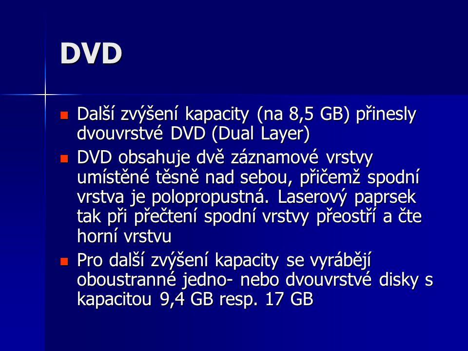 DVD  Další zvýšení kapacity (na 8,5 GB) přinesly dvouvrstvé DVD (Dual Layer)  DVD obsahuje dvě záznamové vrstvy umístěné těsně nad sebou, přičemž spodní vrstva je polopropustná.