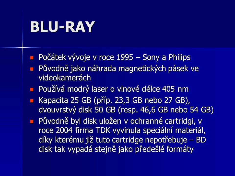 BLU-RAY  Počátek vývoje v roce 1995 – Sony a Philips  Původně jako náhrada magnetických pásek ve videokamerách  Používá modrý laser o vlnové délce