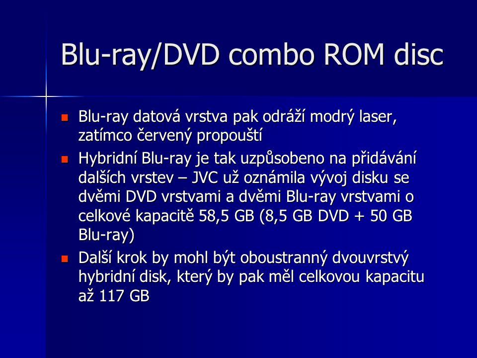 Blu-ray/DVD combo ROM disc  Blu-ray datová vrstva pak odráží modrý laser, zatímco červený propouští  Hybridní Blu-ray je tak uzpůsobeno na přidávání