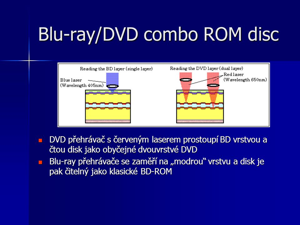 """Blu-ray/DVD combo ROM disc  DVD přehrávač s červeným laserem prostoupí BD vrstvou a čtou disk jako obyčejné dvouvrstvé DVD  Blu-ray přehrávače se zaměří na """"modrou vrstvu a disk je pak čitelný jako klasické BD-ROM"""