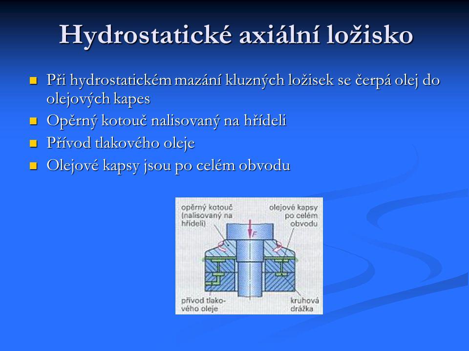  Při hydrostatickém mazání kluzných ložisek se čerpá olej do olejových kapes  Opěrný kotouč nalisovaný na hřídeli  Přívod tlakového oleje  Olejové