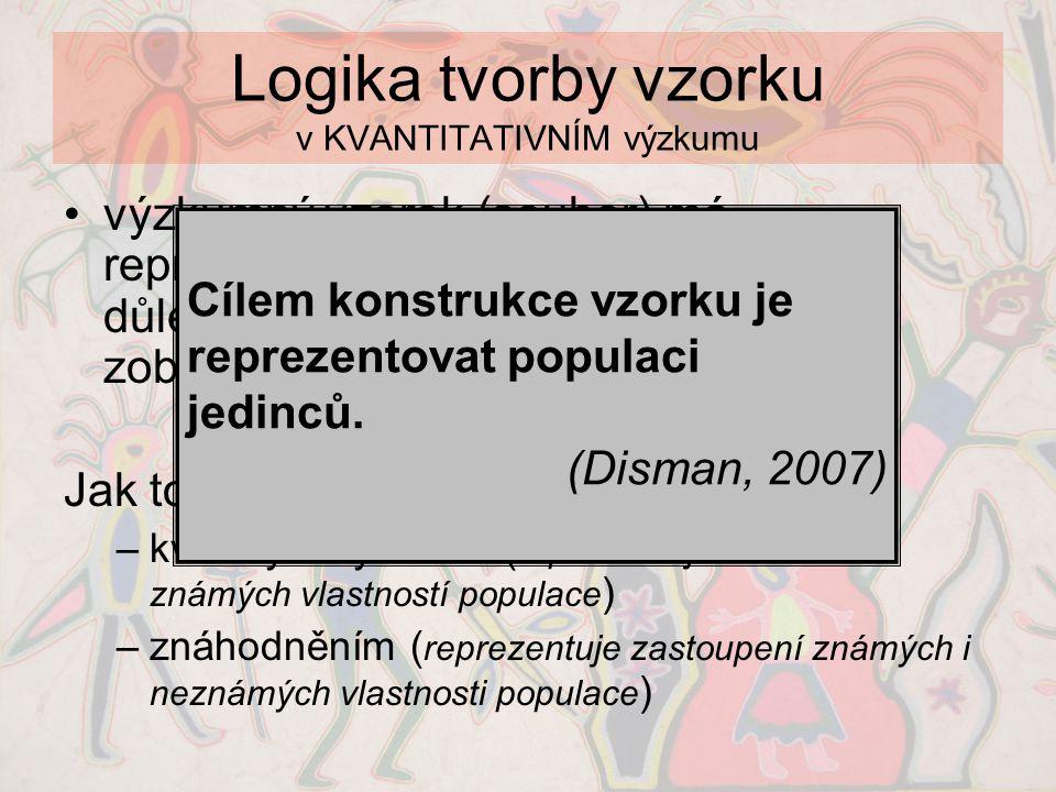 Logika tvorby vzorku v KVANTITATIVNÍM výzkumu •výzkumný vzorek (soubor) má reprezentovat populaci ve všech důležitých proměnných a umožnit tak zobecně