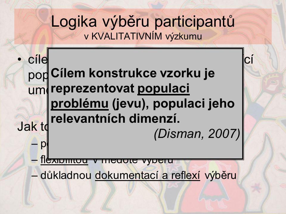 Logika výběru participantů v KVALITATIVNÍM výzkumu •cílem je získat podrobný a vyčerpávající popis zkoumaného jevu, který nám umožní tomuto jevu (lépe