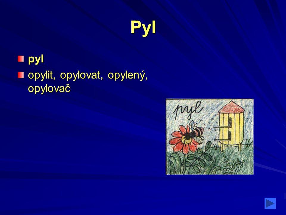 Pyl pyl opylit, opylovat, opylený, opylovač