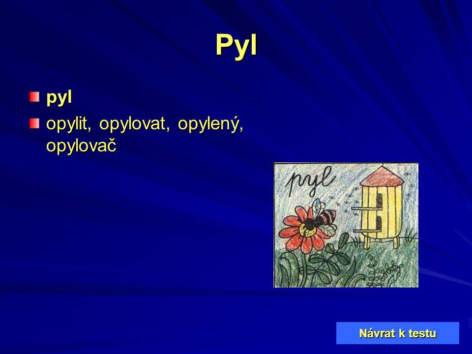 Pyl pyl opylit, opylovat, opylený, opylovač Návrat k testu Návrat k testu