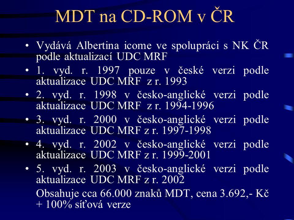 MDT na CD-ROM v ČR •Vydává Albertina icome ve spolupráci s NK ČR podle aktualizací UDC MRF •1. vyd. r. 1997 pouze v české verzi podle aktualizace UDC