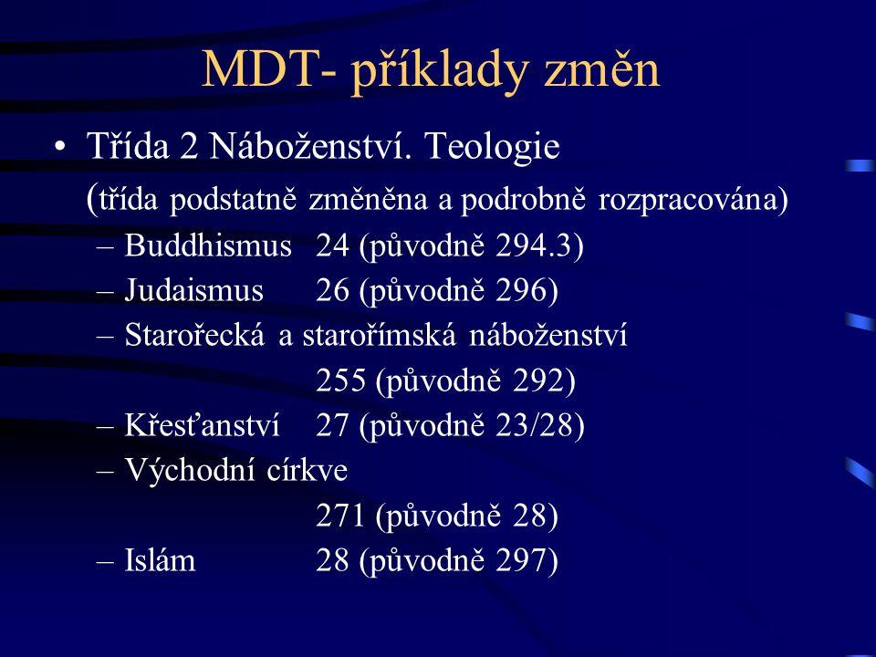 MDT- příklady změn •Třída 2 Náboženství. Teologie ( třída podstatně změněna a podrobně rozpracována) –Buddhismus24 (původně 294.3) –Judaismus26 (původ