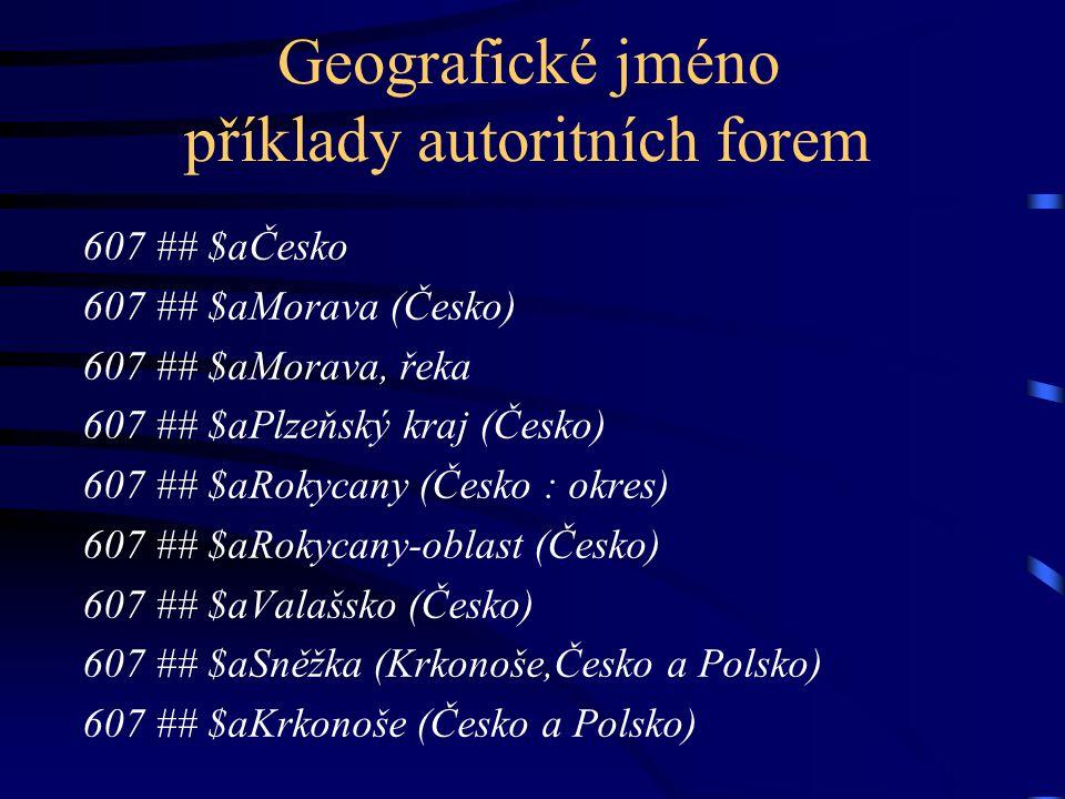 Geografické jméno příklady autoritních forem 607 ## $aČesko 607 ## $aMorava (Česko) 607 ## $aMorava, řeka 607 ## $aPlzeňský kraj (Česko) 607 ## $aRoky