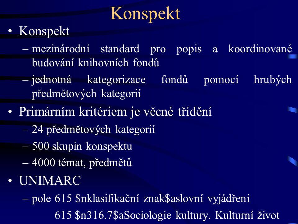 Konspekt •Konspekt –mezinárodní standard pro popis a koordinované budování knihovních fondů –jednotná kategorizace fondů pomocí hrubých předmětových k