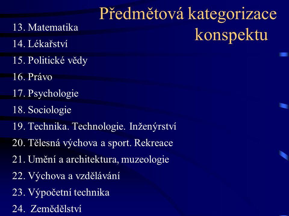 Předmětová kategorizace konspektu 13. Matematika 14. Lékařství 15. Politické vědy 16. Právo 17. Psychologie 18. Sociologie 19. Technika. Technologie.