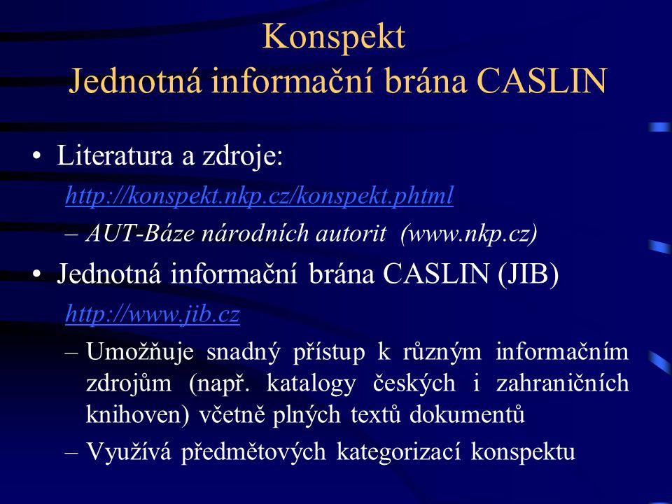 Konspekt Jednotná informační brána CASLIN •Literatura a zdroje: http://konspekt.nkp.cz/konspekt.phtml –AUT-Báze národních autorit (www.nkp.cz) •Jednot