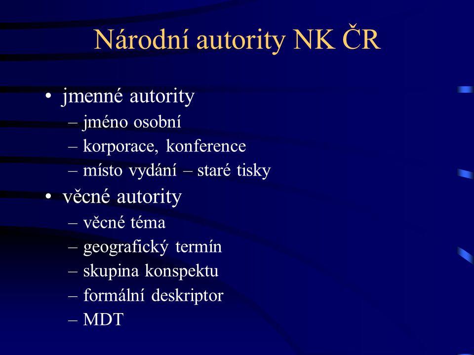 Národní autority NK ČR •jmenné autority –jméno osobní –korporace, konference –místo vydání – staré tisky •věcné autority –věcné téma –geografický term