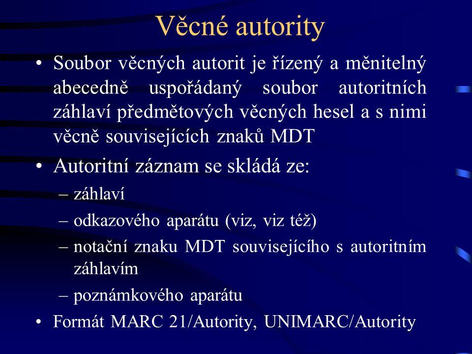 Věcné autority •Soubor věcných autorit je řízený a měnitelný abecedně uspořádaný soubor autoritních záhlaví předmětových věcných hesel a s nimi věcně