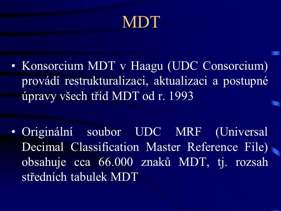 MDT •Konsorcium MDT v Haagu (UDC Consorcium) provádí restrukturalizaci, aktualizaci a postupné úpravy všech tříd MDT od r. 1993 •Originální soubor UDC