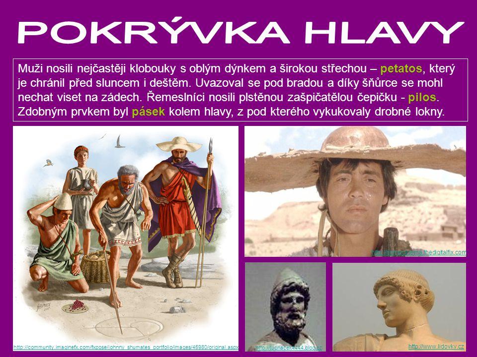Muži nosili nejčastěji klobouky s oblým dýnkem a širokou střechou – petatos, který je chránil před sluncem i deštěm. Uvazoval se pod bradou a díky šňů