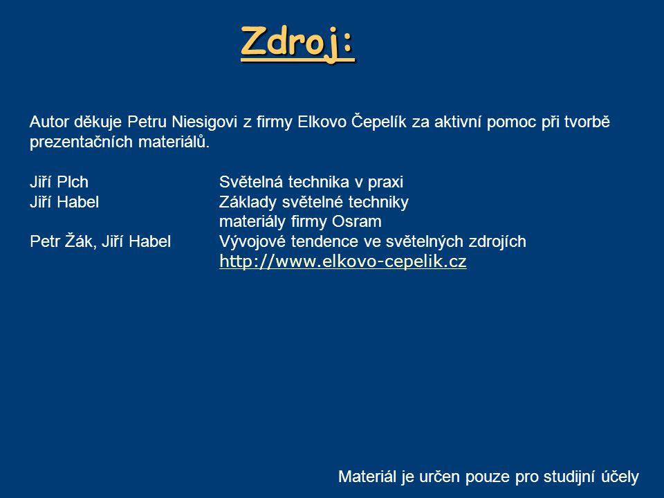 Zdroj: Autor děkuje Petru Niesigovi z firmy Elkovo Čepelík za aktivní pomoc při tvorbě prezentačních materiálů. Jiří PlchSvětelná technika v praxi Jiř