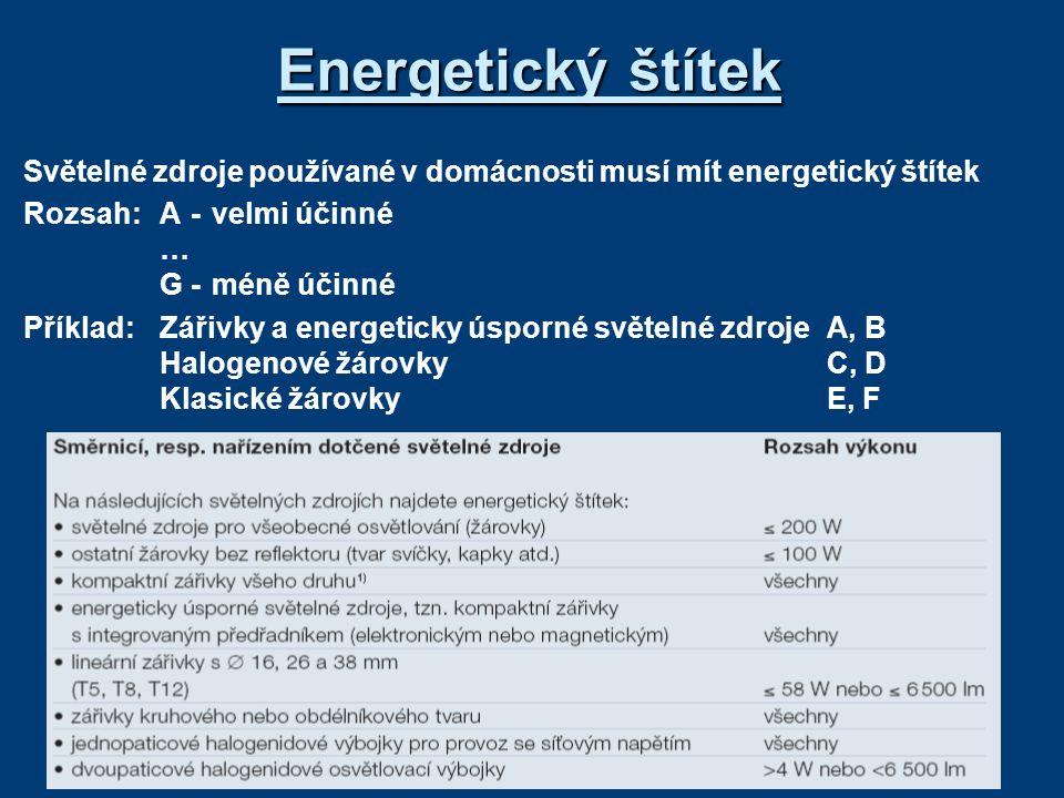 Energetický štítek Světelné zdroje používané v domácnosti musí mít energetický štítek Rozsah: A-velmi účinné … G-méně účinné Příklad:Zářivky a energet